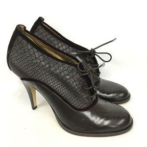 BCBGMaxAzria Heel Brown Embossed Oxford Size:10 #2